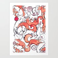 Fox Pattern Art Print