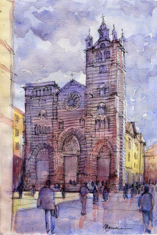 Cattedrale di Genova (Italy) schizzo di studio a colori Canvas Print
