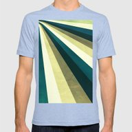 Green Ombre Stripes Mens Fitted Tee Tri-Blue SMALL