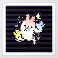 naughty halloween bunny ghost Art Print