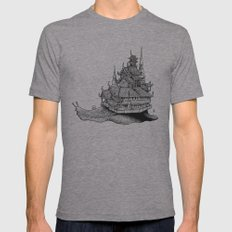 Snail Temple Mens Fitted Tee Athletic Grey SMALL