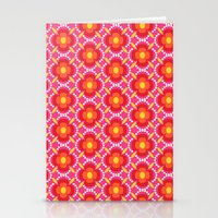 Retro happy bright floral 3 Stationery Cards
