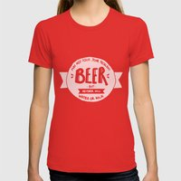 Beer Womens Fitted Tee Red SMALL