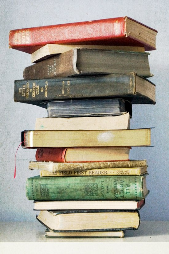 Stacked Vintage Books Art Print