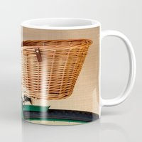 Vintage green bicycle with basket and textured background  Mug