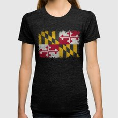 State flag of Flag of Maryland - Vintage retro style Womens Fitted Tee Tri-Black SMALL