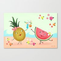 Pineapple And Watermelon Canvas Print