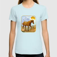 The Sun King Womens Fitted Tee Light Blue SMALL