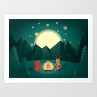 Camp Fires Art Print
