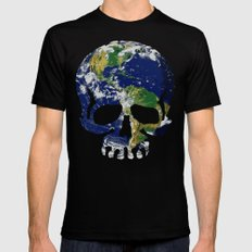 Skull Earth Mens Fitted Tee Black SMALL