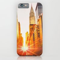 iPhone Cases featuring NYC Skyline Sunset by Vivienne Gucwa