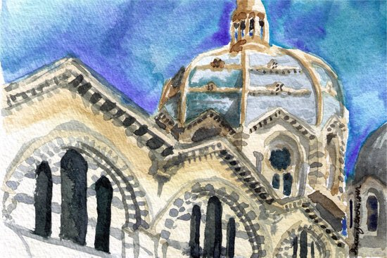 Marseille Cathedral Sketch Art Print