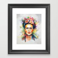 Framed Art Print featuring Frida Kahlo by Tracie Andrews