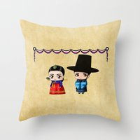 Korean Chibis Throw Pillow