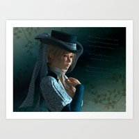 Victorian lady and a love letter Art Print