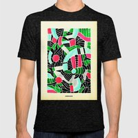 - summer seaforest - Mens Fitted Tee Tri-Black SMALL