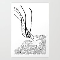 Squiggly Cloud and Squiggly Bird Art Print