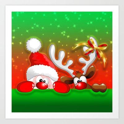 Funny Christmas Santa and Rein...