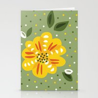 Abstract Yellow Primrose Flower Stationery Cards
