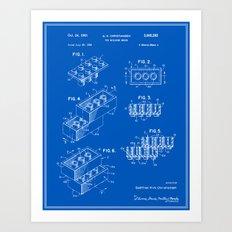 Building Brick Patent - Blueprint (Resize) Art Print