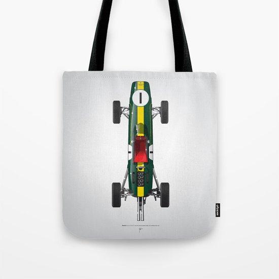 Outline Series N.º1, Jim Clark, Lotus 25-Coventry Climax 1962 Tote Bag