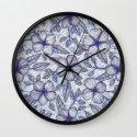 Indigo Summer - a hand drawn floral pattern Wall Clock