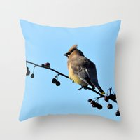 Waxwing On A Winter's Da… Throw Pillow