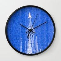 Night of Blue over Milan Wall Clock