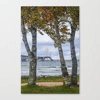 The Mackinaw Bridge in Autumn by the Straits of Mackinac with Birch Trees Canvas Print