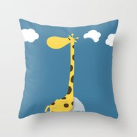 The greedy giraffe Throw Pillow