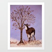 Deer by the tree Art Print