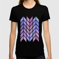 Blue & Purple Chevron Womens Fitted Tee Black SMALL