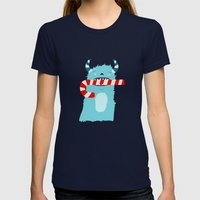 December Monsters: Candy Cane Womens Fitted Tee Navy SMALL