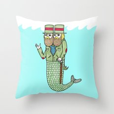 Portrait of a two headed merman Throw Pillow