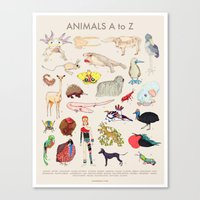 Bizarro Animals - A to Z poster Canvas Print