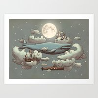 cute Art Prints featuring Ocean Meets Sky by Terry Fan