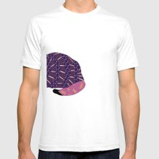 Abstract Cat [BLACK] Mens Fitted Tee SMALL White