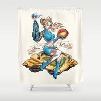 Pinup Samus Tattoo Bomber Girl Shower Curtain