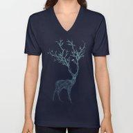 Unisex V-Neck featuring Blue Deer by Huebucket