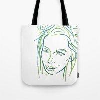Green Portrait Tote Bag