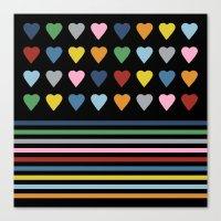 Heart Stripes Black Canvas Print