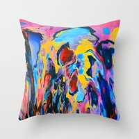 Sunset Oil Throw Pillow