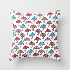 watercolour umbrella Throw Pillow
