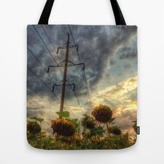 field of faded sunflowers  Tote Bag
