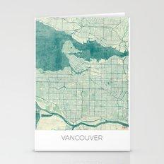 Vancouver Map Blue Vintage Stationery Cards