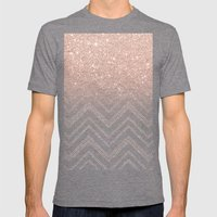 Modern faux rose gold glitter ombre modern chevron stitches pattern Mens Fitted Tee Tri-Grey SMALL