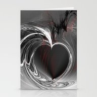 Heart Black Stationery Cards