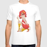 red dress girl with imagined gun Mens Fitted Tee White SMALL
