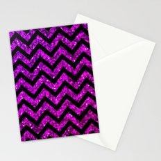 Chevron Purple Sparkle Stationery Cards