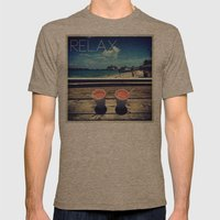 relax Mens Fitted Tee Tri-Coffee SMALL